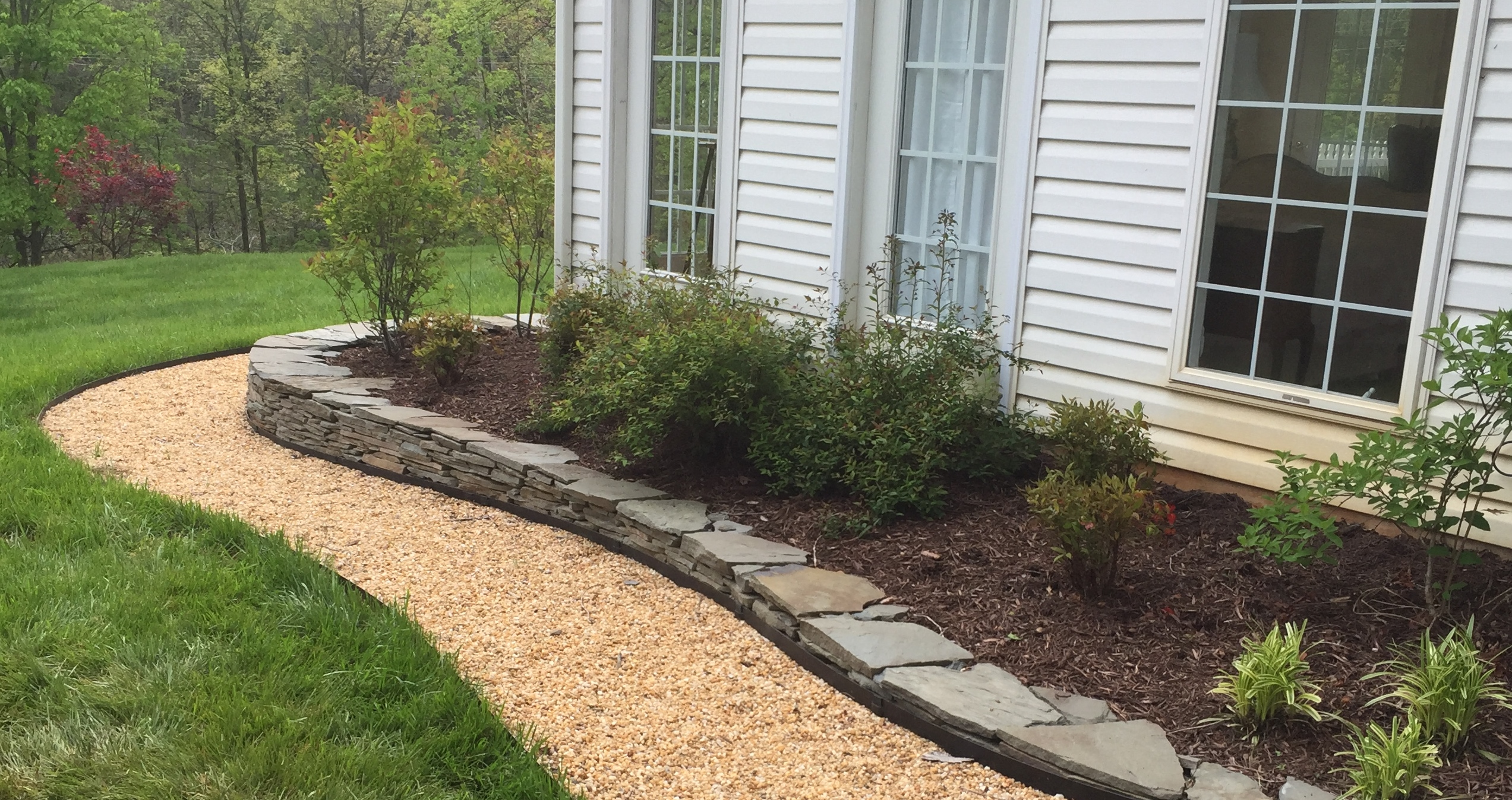 Flagstone Patio With Fire Pit Pea Gravel